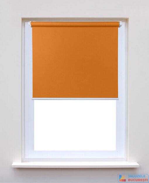Rolete textile simple portocaliu pe fereastra - Jaluzele Bucuresti